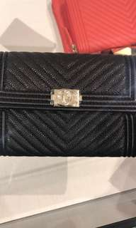 Chanel Caviar Chevron Quitted Medium Boy Flap Wallet (Black with gold pleated hardware)