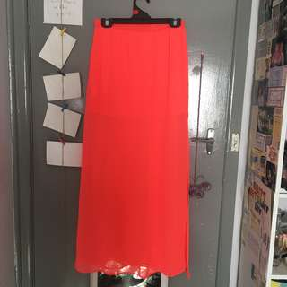 Neon pink maxi skirt