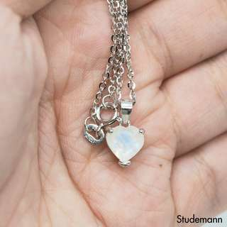 Rainbow Moonstone Heart Pendant Necklace - Rhodium plated 925 Sterling Silver - 8mm Heart Shape | June Birthday | Gift for women
