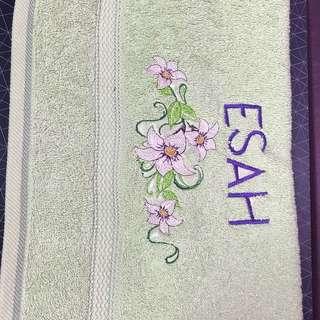 Customised towel (floral theme)