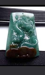 🌸Big! Grade A 水润 Green Dragon N Ruyi 招财祥龙 万事如意 Jadeite Jade Pendant/Display🌸