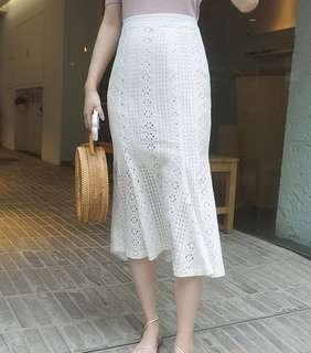 蕾絲高腰魚尾裙 現貨