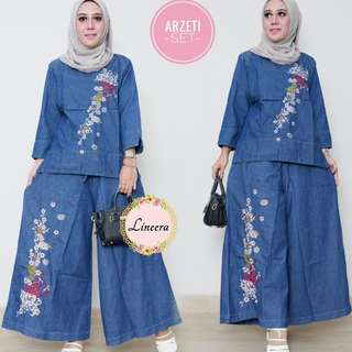SET ARZETI Denim  Sulam Bunga