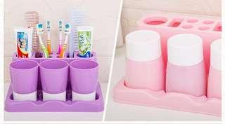 牙刷座架漱口杯套装 创意浴室卫生间多人情侣牙杯韩国三口牙膏盒