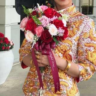 結婚嫁娶手造紅色絲花花球 連襟花