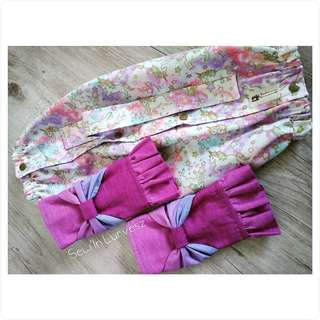 Baby carrier cover, bow + ruffles droolpads