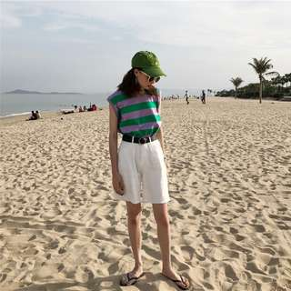 韓版磨破條紋背心女百搭中長款寬鬆吊帶打底衫學生休閒上衣(2色)