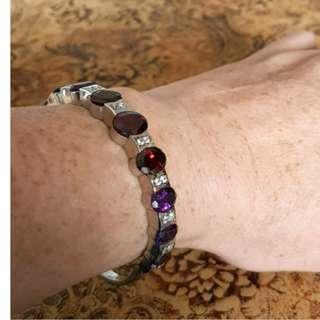 Garnet, Amethyst & White Zircon Bracelet, Sterling Silver, NEW