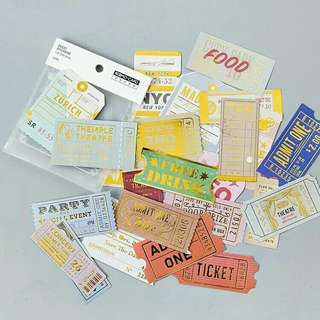 Ticket sticker flakes
