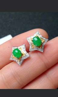 🍍18K Gold - Grade A 冰糯 Green Cabochons Jadeite Jade Stars Studs Earrings🌸
