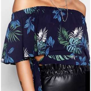 Floral side tie off the shoulder top