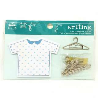 T-shirt Sticky Notes with Hanger-shaped Paper Clips[E48]