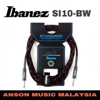 Ibanez SI10-BW Guitar Instrument Woven Cable, Black Red, 10ft