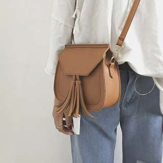 Tassel Brown Sling Bag with Gold Ring Handle ⚡️