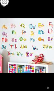 26 Alphabet Cartoon animal fun alphabet sticker English words children learning early childhood stickers removable wall stickers Home decor