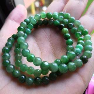 Grade A myanmar jade with cert 正阳绿翡翠 5mm