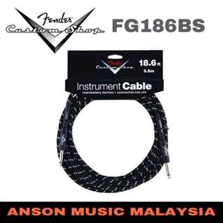 Fender FG186BS Custom Shop Instrument Cable, 18.6ft, Black Tweed