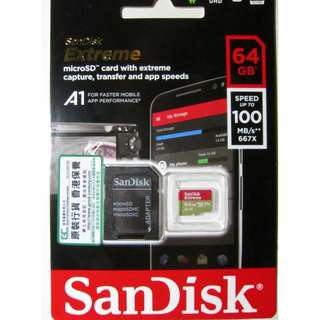 SanDisk Extreme micro SDXC 64GB Speed up to 100