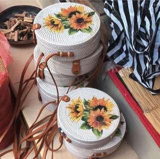 Painted Rattan Bags