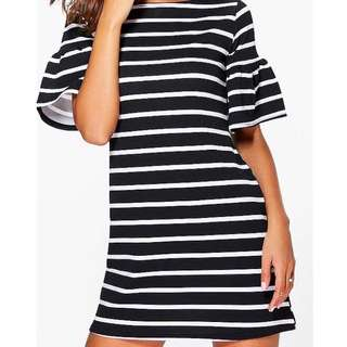 Stripped frill sleeve dress