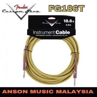 Fender FG186T Custom Shop Instrument Cable, 18.6ft, Tweed