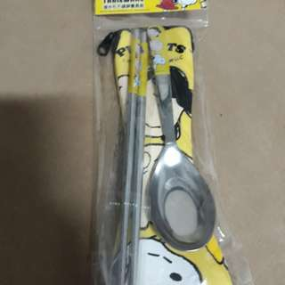 史努比 SNOOPY 正版 潛水布不鏽鋼餐具組 筷子 湯匙