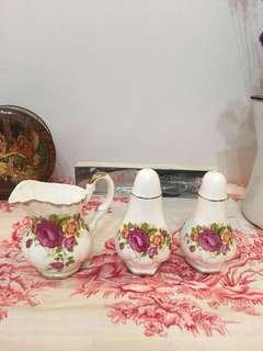 Cottage rose fine bone China milk jug and salt and pepper shakers