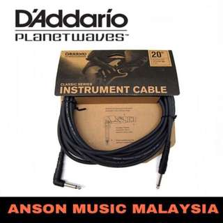 D'Addario Planet Waves PW-CGTRA-20 Classic Series Right Angle Instrument Cable