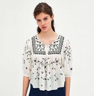(PO) Zara Floral Embroidered Blouse