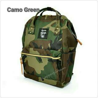 Instock 💯 Camo Green Authentic Anello Canvas Backpack