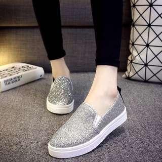 Korean design female shining platform flat shoes