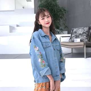 Embroidered Denim Jacket light blue jeans korean stylish pretty oversized bf top #ramadan50