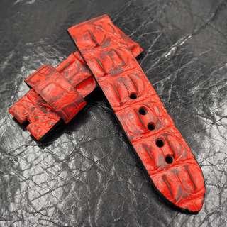 (2462) 全新24mm復古紅色鱷魚背骨通用錶帶 合適 Panerai, Seiko, Bell & Ross, Tudor 等等
