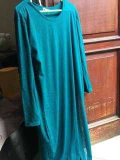 Gamis Kaos Panjang Turquoise