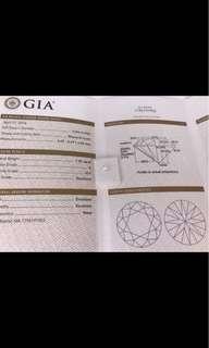 GIA  重量1.05卡 顏色E 凈度VS1  車工3EX  N