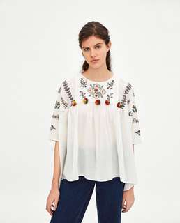 (PO) Zara Puff Ball Embroidered Blouse