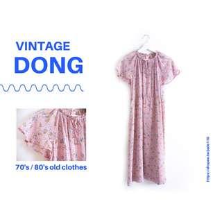 🚚 | 咚 咚 Vintage |日本古著-沙棕粉點點花短袖洋裝