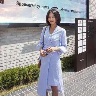 Korean Stripes Dress stylish light blue tied up uneven style midi dress #ramadan50