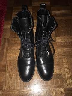 Zara leather black combat boots