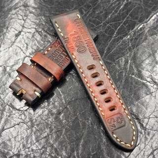 (2466) 全新24mm Panerai壓字紅黑復古牛皮通用錶帶 合適 Panerai, Seiko, Bell & Ross, Tudor 等等