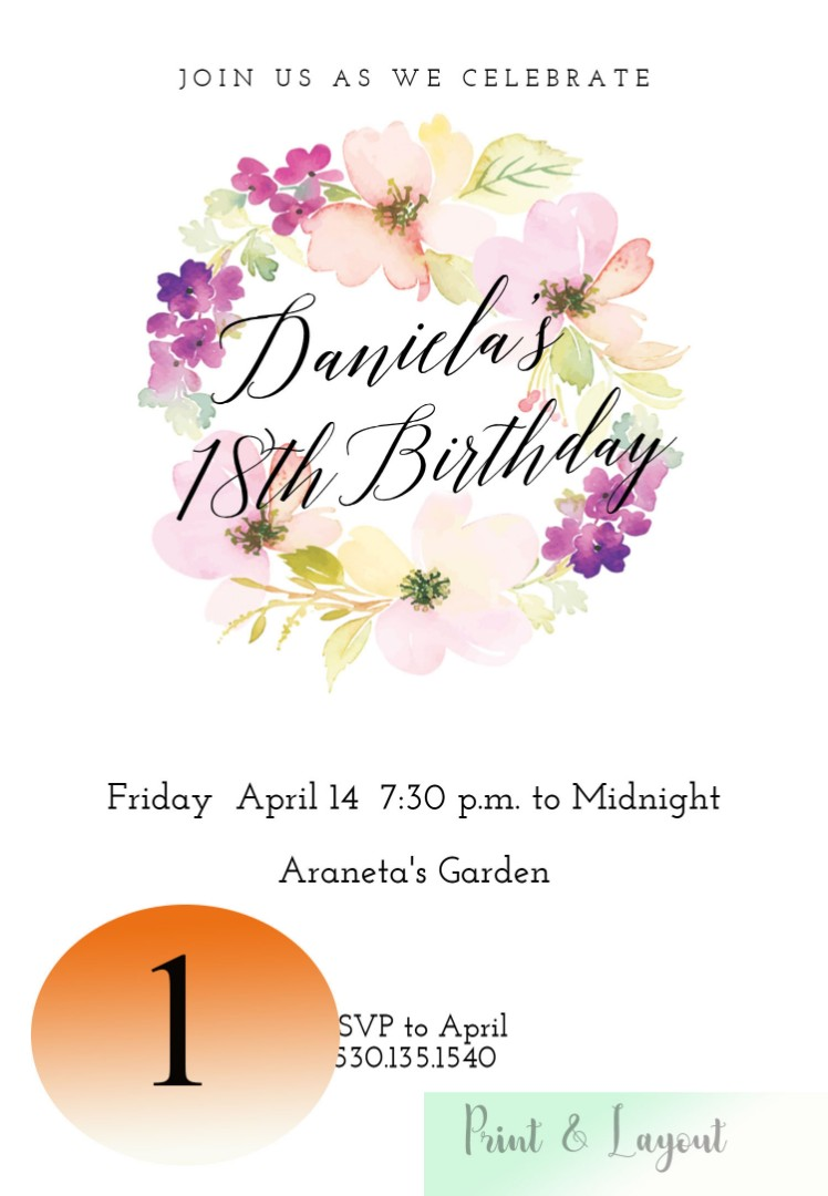 18th Birthday Invitation Cards Design Craft Others On Carousell