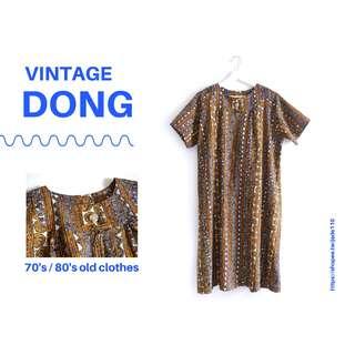 🚚 | 咚 咚 Vintage |日本古著-沙哈拉系列-古印沙褐短袖洋裝