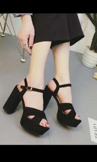 Preorder korean Chunky suede criss cross Heels *Waiting time 15 days after payment is made *pm to order
