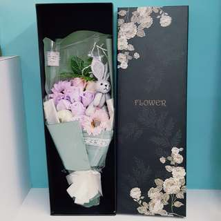 Silver Bunny Large Soap Bouquet