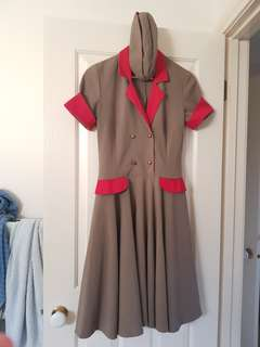 Khaki and red military style circle dress and hat