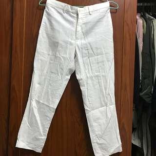🚚 GU 白色棉麻材質9分褲