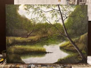 Oil painting on canvas ' Hidden pond'