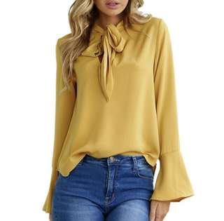 Yellow Blouse / Top with Bell Sleeves