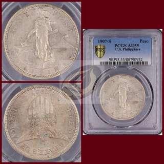 1907-S Philippines Peso - PCGS AU55