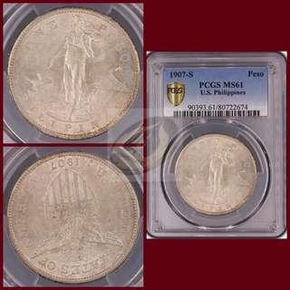 1907-S Philippines Peso - PCGS MS61